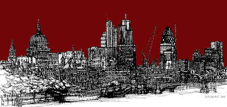 Dark Ink with bright scarlet red London skyline by Adendorff Design