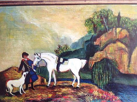 Scenery of a white horse. by Egidio Graziani