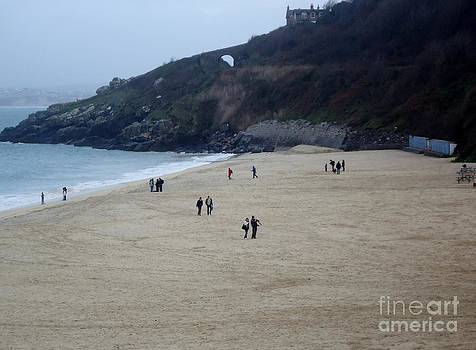 Scenes of St. Ives Collection - No.1 - A Peaceful Afternoon Stroll on Porthminster Beach by Ava Larsen