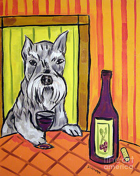 Schnauzer at the Wine Bar by Jay  Schmetz