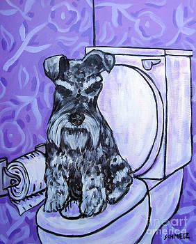 Schnauzer in the Bathroom by Jay  Schmetz
