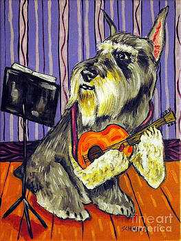 Schnauzer Playing Guitar by Jay  Schmetz