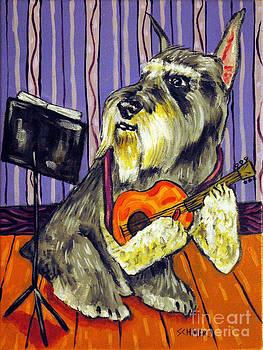 Schnauzer Playing Guitar by Jay  Schmetz
