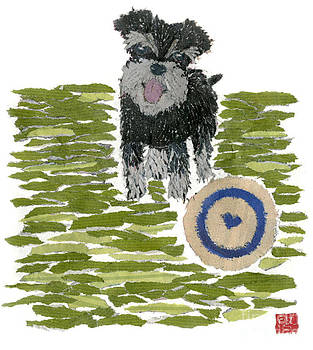 SCHNAUZER Art Hand-Torn Newspaper Collage Art Dog Portrait by Keiko Suzuki Bless Hue