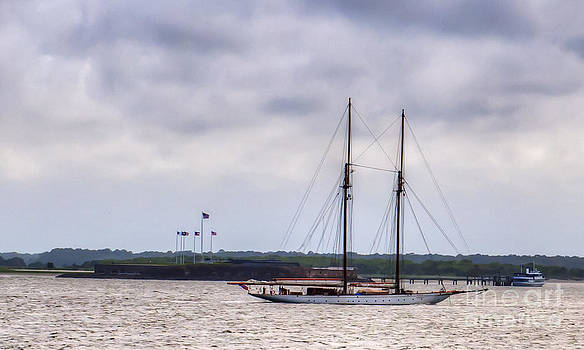Dale Powell - Schooner Sailing Past Fort Sumter