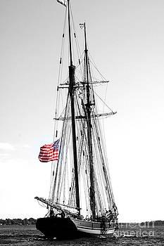 Linda Rae Cuthbertson - Schooner Tall Ship American Flag