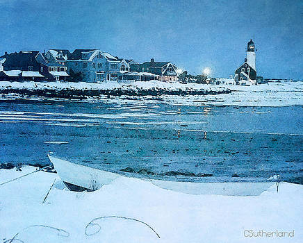 Scituate Light Snowy Night by Carol Sutherland