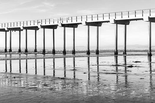 Priya Ghose - Scripps Pier Reflections In Black And White