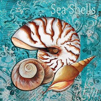Sea Shells Original Coastal Painting Colorful Nautilus Art by Megan Duncanson by Megan Duncanson