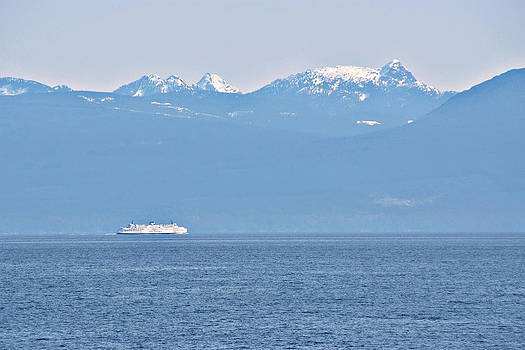 Sea Ship and Hills by Devinder Sangha