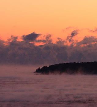 Sea Smoke at Sunrise over Sutton Island Maine by Dana Moos