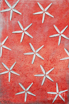 Sea stars on red by Gabriela Valencia