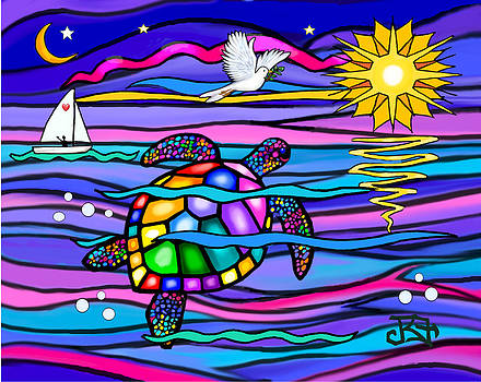Sea Turle in Blue and Pink by Jean B Fitzgerald