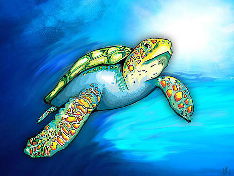 Sea Turtle in the Blue by Laura  Harris