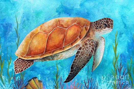 Sea Turtle on Blue by Gabriela Valencia