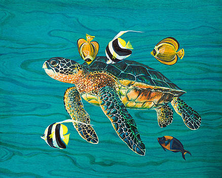 Sea Turtle with Fish by Emily Brantley