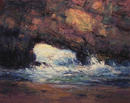 Seacave at sunrise by R W Goetting