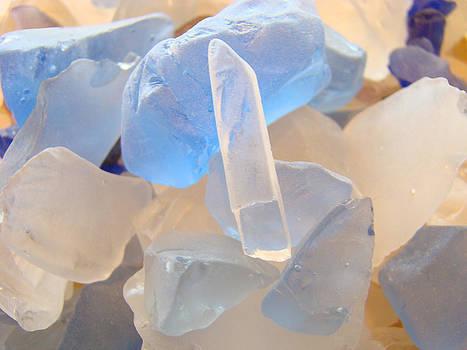Baslee Troutman - SEAGLASS art print White Blue Coastal Beach SEA GLASS