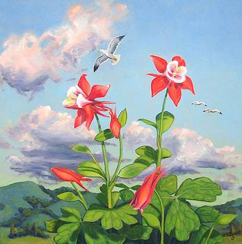 Seagulls and Columbines  by James Derieg