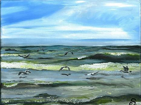 Seagulls at Play by Sarah Lowe