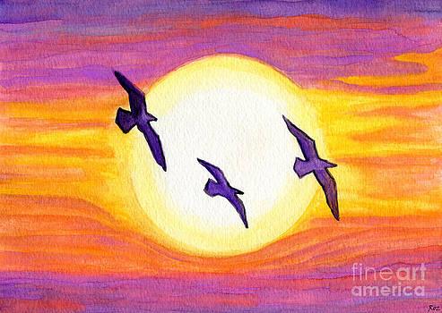 Seagulls Flying Over Flagler Beach by Roz Abellera Art