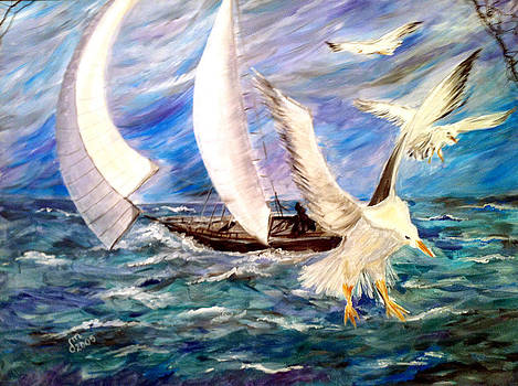 Seagulls In The Storm by Dorothy Maier