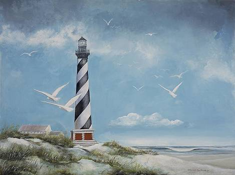 Seagulls Over Cape Hatteras Lighthouse by Charles Roy Smith