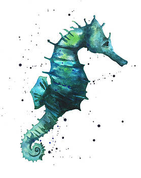 Seahorse in Teal by Alison Fennell