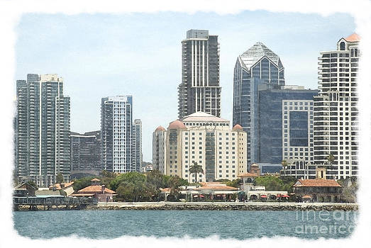 Seaport Village and Downtown San Diego Watercolor by Claudia Ellis