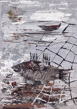 Seascape With Fish And Network by Yana Vergasova