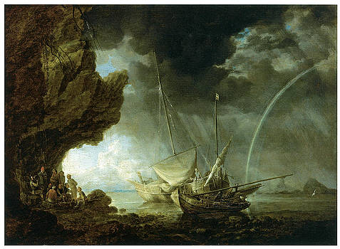 Bonaventura Peeters - Seascape with Sailors Sheltering from a Rainstorm