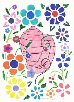 Artists With Autism Inc - Seashell behind the flowers
