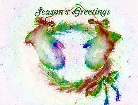 Season's Greetings Rainbow Mittens Wreath Card by Claire Bull