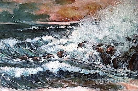 Seastorms..in a red sunset.. by Estelle Hartley