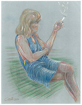 Seated Girl Smoking - Colour Study by Giovanni Caputo
