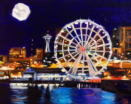 Seattle Great Wheel by Aaron Hazel