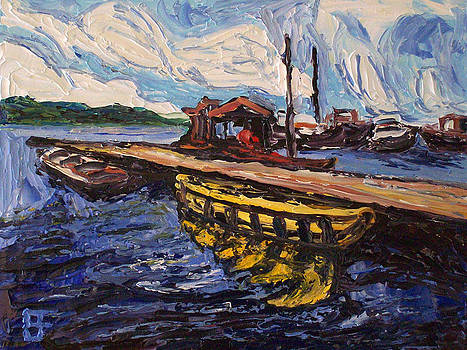 Allen Forrest - Seattle WA Lake Union Yellow Boat