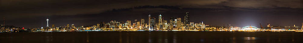 Chris McKenna - Seattle Waterfront at Night Panoramic