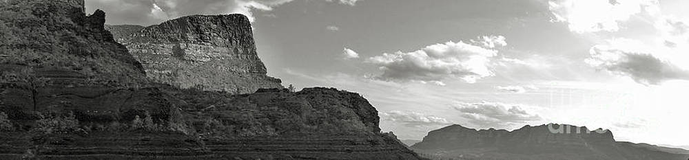 Gregory Dyer - Sedona Arizona Mountains black and white panorama