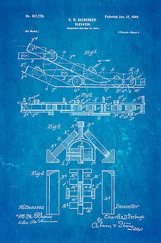 Ian Monk - Seeberger Escalator Patent Art 1899 Blueprint