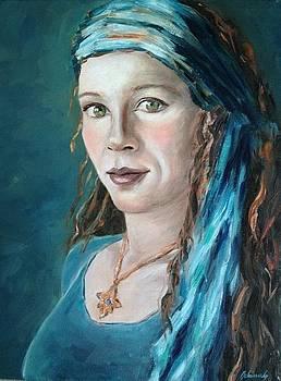 Self-portrait with headscarf II by Beata Belanszky-Demko