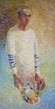 Self Portrait with Palette by Misha Lapitskiy