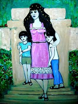 Selfportrait With My Daughters by Elena Buftea