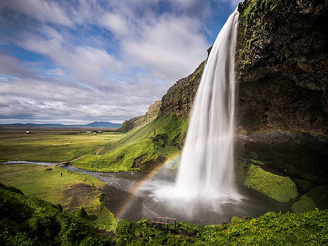 Seljalandsfoss Waterfall with Rainbow by Andreas Wonisch