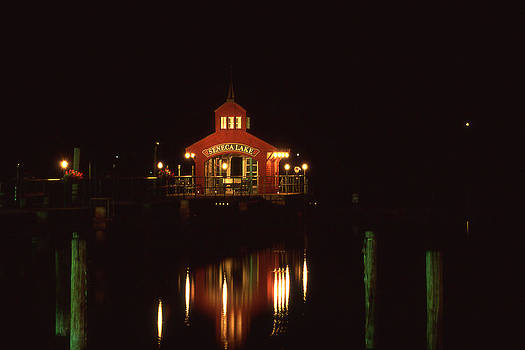 Seneca Pier Shelter at Night by Roger Soule