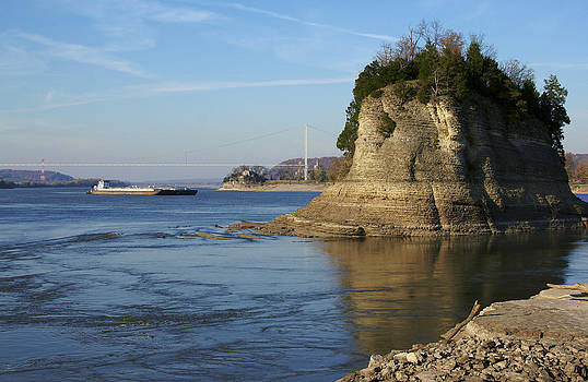 Sentinel of the River - Tower Rock and towboat by Jane Eleanor Nicholas