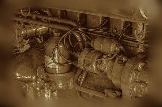 Sepia Vintage Tractor Motor by Ronald T Williams