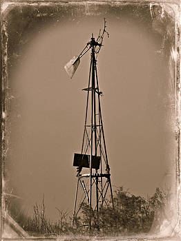 Sepia Windmill by Mikki Cromer