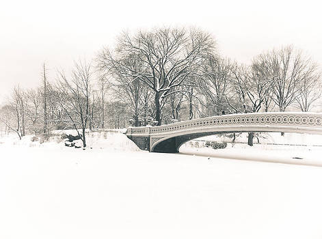 Serenity - Bow Bridge in the Snow - Central Park by Vivienne Gucwa