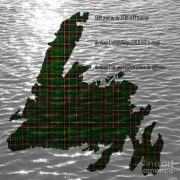 Barbara Griffin - Serenity Prayer on Water and Newfoundland Tartan Map